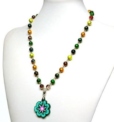 6 x elegante Halsketten mit Porzellananhänger