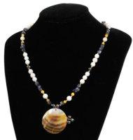 4 x elegante Halsketten mit Perlmutanhänger