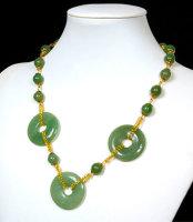 1 x tolle Halskette aus China Jade Perlen