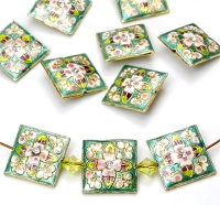 10x wunderschöne grüne Cloisonne Perlen