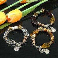 3x Wunderschöne Armbänder Glasperlen Zirkonia in 3 Farben