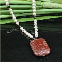 2x Halsketten mit edlem Marmor Anhänger