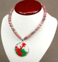 2x Halskette aus Howlith und Achat mit Perlmuttanhänger