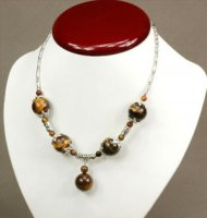 3x atemberaubende Halskette mit Tigerauge und Straß
