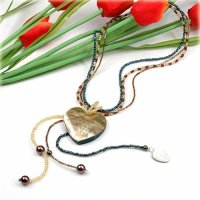 1x wunderschöne Halskette mit trendy Perlmuttanhänger in Herzform