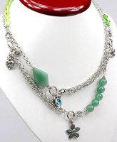 2x Halskette aus echter China Jade und Kristallperlen