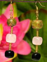 1 x Schmuckset Halskette und Ohrhänger aus Natursteinperlen