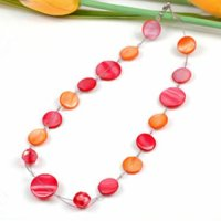 12 x moderne Halsketten Perlmutt Perlen in 4 Farben