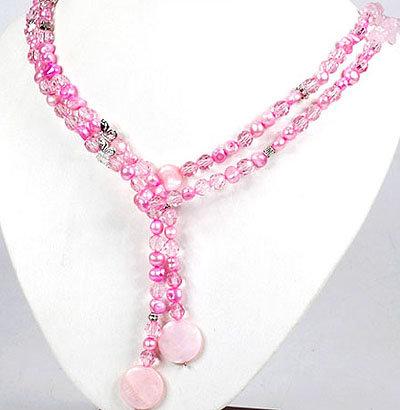 1 x rosane Halskette mit Glas Zucht Metall Perlmuttperlen