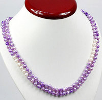 1 x Halskette mit Zuchtperlen in Lila und Weiß