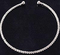 3 x Halskette Halsreif mit Strass elastisch silberfarben