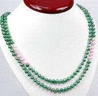1 x Halskette mit Zuchtperlen in Grün und Rosa