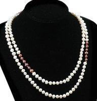 1 x Halskette mit Zuchtperlen in Braun und Weiß