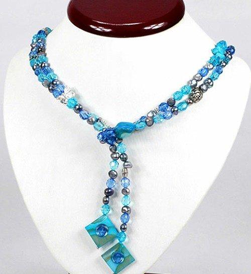 1 x blaue Halskette mit Glas Zucht Metall Perlmuttperlen