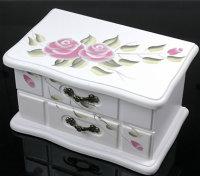 1 x bezaubernder Schmuckkasten aus Holz lila Blumen