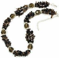 1 x wunderschöne Halskette mit Rauchquarz Stein Perlen 48 cm