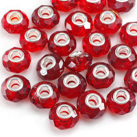 24 x Glasperlen Kristallglas Rot schöner...