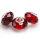 24 x Glasperlen Kristallglas Rot schöner Facettenschliff