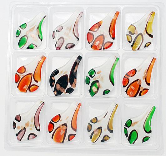 12 x tolle Glasanhänger Motiv Blatt mit Goldsand