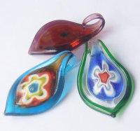12 x tolle Glasanhänger Klarglas mit bunten Blüten