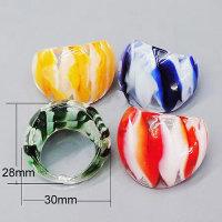 12x handgefertigte Lampwork Glasringe 6 Farben