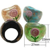 12x wunderschöne Glasringe Struktur Rose