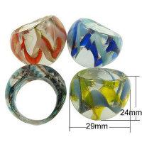 12x wunderschöne Glasringe 3 D 6 Farben sortiert