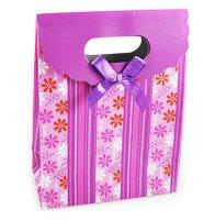 50 x modische Geschenktüten lila Blumenmuster