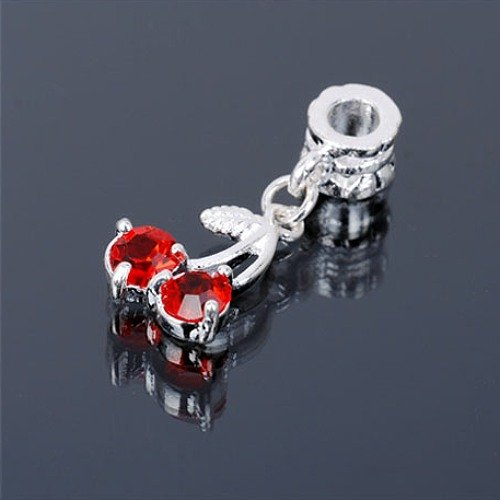 12 x Metall Anhänger für Halskette Kirsche Zirkonia