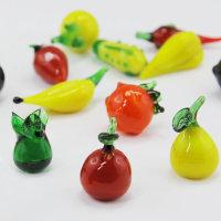 18 Stück Glas Deko Obst und Gemüse sortiert in Box