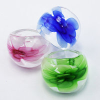 12x Glasringe Motiv Blume 3D  in 6 verschiedene Farben...