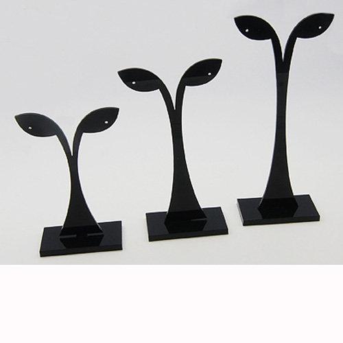 Ohrringständer 3er Set Acryl Schwarz 56x82 + 56x104 + 56x126 mm