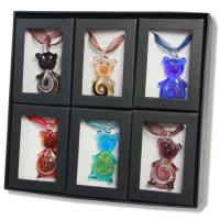 12x Lampwork Glas Anhänger mit Halsbänder/Box