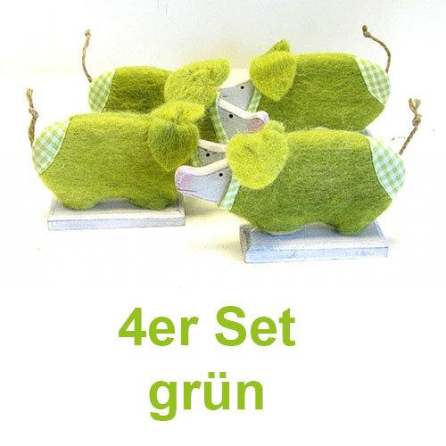 Holz-Filz Schwein 4er Set 17 cm grün handbemalt