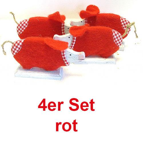 Holz-Filz Schwein 4er Set 17 cm rot handbemalt
