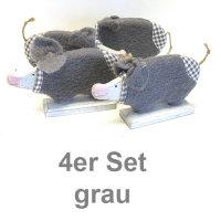 Holz-Filz Schwein 4er Set 17 cm grau handbemalt