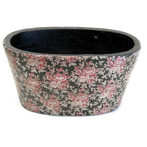 Keramik Ovalschale Black-Rose 26 cm - schwere Qualität