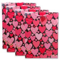"""Elegante feste Geschenktüte """"Valentin"""" pink-silber XL 45,5 x 33 x 10 cm"""