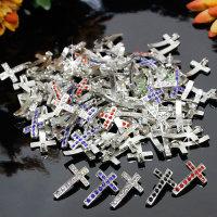 """25 x tolle Anhänger """"Kreuz"""" mit Strass Steine verziert - 20 x 13 x 2,5 mm"""