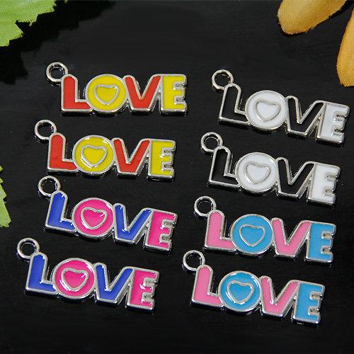 "50 x European Beads Charm Anhänger ""LOVE"""