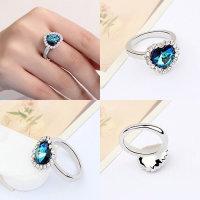 12x Ring silberfarben mit Herzkopf in türkisblau