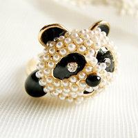 Ringe mit sehr schönem gestalteten Pandabärenkopf