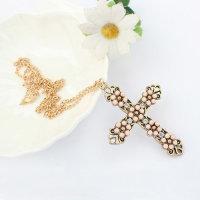 12x Exklusive Halskette mit reich verziertem Kreuz - Kette ca. 60 cm Sonderposten