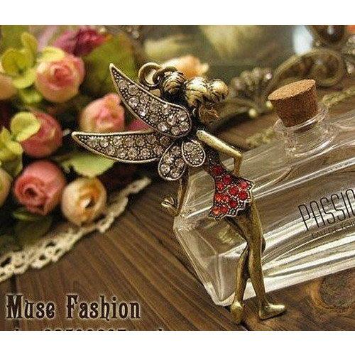 Exklusive Halskette mit einer zauberhaften Fee - Kette ca. 60 cm
