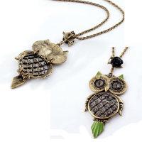 Exklusive Halskette mit  Eulenanhänger - Kette ca. 60 cm