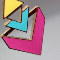 Exklusive Halskette mit farbenfroher geometrischer Triange - Kette ca. 60 cm