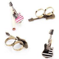 Ring für zwei Finger mit Retogitarre schwarz