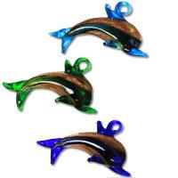10x Edle Lampwork Glas Anhänger in Delfinform