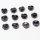 12x Lampwork Glasringe schwarz-weiß ca. 18 mm Durchmesser