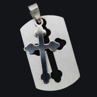 "12x Edelstahlanhänger ""Kreuz""  - 2 teilig ca. 35 x 22 mm"